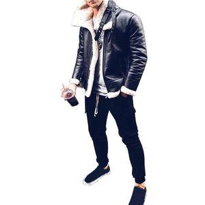 WEPBEL Mann-Winter-Reißverschluss-Jacken-Strickjacke-Mantel-Leder Herren Solid Color