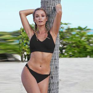 womens designer Large size sexy bikini 2-Piece Set Summer solid color split swimsuit 411980
