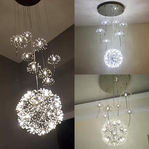 Europa Cristal Chandelier Dandelion Loja Restaurante Livingroom G4 LED Iluminação Escadas Lâmpada de Flores Americana