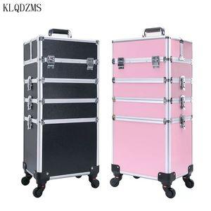 KLQDZMS عربة حقيبة مستحضرات التجميل حقيبة مهنة للماكياج سفر المرأة الأمتعة حقيبة مستحضرات التجميل العجلات