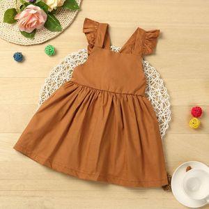 Solid color fashion icon Children Baby Girl Summer Cotton Harness Sleeveless Princess Dress vestido infantil July30