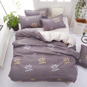 3 / 4pcs Fronhas Folha Crown Stripes AB Side cama Set Duvet Cover cama lisa Twin Lençóis completa Rainha King Size Ropa de cama