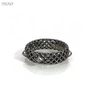 Fashionable new style ring high-grade black zircon hollow ring 2020new