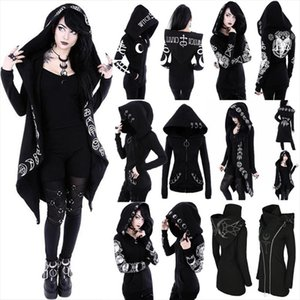 Gothic Punk Print Hoodies Sweatshirts Women Long Sleeve Jacket Zipper Coat Autumn Winter Female Casual Hoodie Oversized Hood