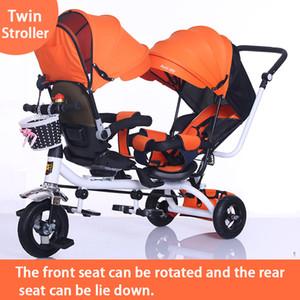 Doppia Passeggino doppia sede del bambino Triciclo Kids Bike ruotabile di sicurezza a tre ruote luce Passeggino Protable Passeggino