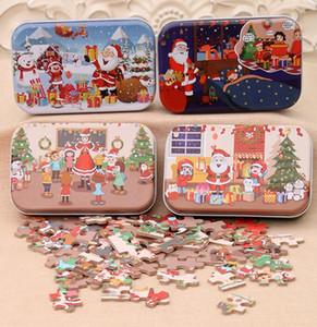 60PCS / 설정 크리스마스 나무 퍼즐 어린이 장난감 산타 클로스, 눈사람 두 지그 소 퍼즐 어린이 조기 교육 직소 선물 장식 GGA3678