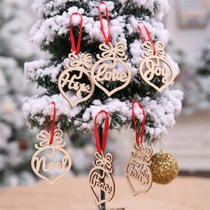 letra de madeira de Natal Teste padrão do coração da bolha Ornamento da árvore de Natal decorações de casa Festival pendurando enfeites 6pcs Presente / lot DS01