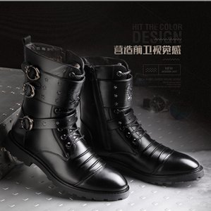 Hair Stylist Plus Velvet Zip Hose Warm Snow Boots Leather High-Waisted Special Forces Rivet Martin Boots Fashion Lady Shoes -40