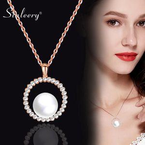 SINLEERY eleganten 10 mm große Perlen-Halskette für Frauen Rose Gold Farbe Gliederkette runden Kristallhalsketten- Hochzeit Schmuck Xl262 SSA