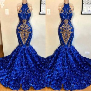 Sexy Halter Mermaid Evening Gowns 2021 3D Rose Flora Sweep Train Prom Dresses Lace Appliques Backless Robe De Soiree