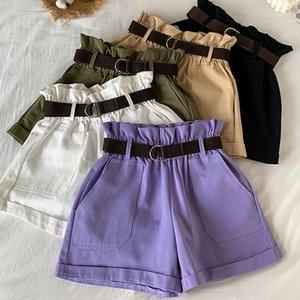 Korean Ruffles Shorts Women 2020 Summer High Waist pockets Wide Leg ladies Short with Sashes Streetwear all match short femme