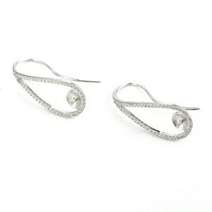 결혼식 신부 3 쌍 장착 HOPEARL 보석 진주 귀 와이어 지르콘 포장 925 개 스털링 실버 귀걸이