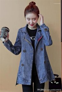 Autumn Long Sleeve Lapel Neck Ladies Outerwear Casual Single Breasted Loose Womens Coats Denim Womens Trench Coats