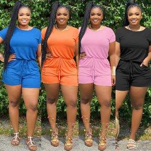 Plus Size Womens Shorts tuta casuale di estate O manica corta Lace Up Etero pagliaccetto di un pezzo elegante 4XL Playsuits