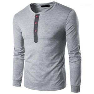 Mens Long Sleeve Tees Mens Designer Patchwork Tshirts Summer O Neck Tops with Buttons Casual Slim