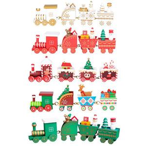 Mini Christmas Decorations Funny Wood Train Set Train Model Desktop Ornaments Baby Toys Cartoon Christmas Gift