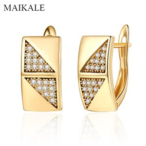 MAIKALE Fashion Design Square Stud Earrings Gold Color Plated Gem Stone Cubic Zirconia Earrings for Women Classic Jewelry Gifts