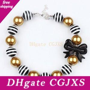 Süßes Mädchen Schöne Bow -Knot Süßigkeit Halskette 2016-Kind-Mädchen-Goldschwarz-Perlen Bubblegum Halskette Weihnachten Kleinkind Chunky Prinzessin Schmuck