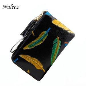 Sac d'embrayage en cuir véritable Nuleez peau de vache femmes plumes peintes à la main sac de soirée pour les femmes élégantes 2020