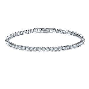 HCyes 3 mm de lujo Cubic Zirconia cadena Tenis pulseras hacia fuera helado joyería de las mujeres hombres brazalete de oro de la boda para Crystal