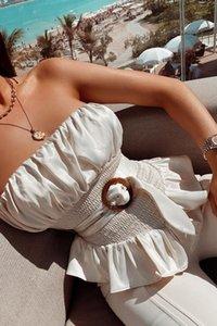 Strapless Camis Cor Natural com roupa Womens Sashes plissadas Painéis Strapless Camis Womens Strapless Camis Designer Peplum