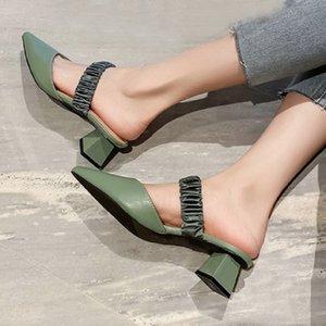 Sianie Tianie vera pelle verde beige signore sandali sexy diapositive all'aperto d'estate tacchi alti pantofole donne muli grande taglia 42