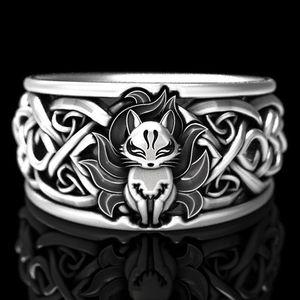 Винтажное животное Fox мужская группа кольца палец 2020 мода серебряные мужские ювелирные украшения кольца аксессуары размером 6-10