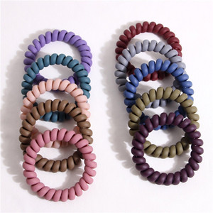Wholesale Make Up Telephone Wire Hair Ties 10 Pcs Rubber Resin Colorful Hair Bands for Women Girls Matt Color