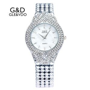 Marca New GD GLEVDO Womens Relógios Prata Ladies Bracelet Relógios Moda Casual quartzo Relógios de pulso Relógio X0926 feminino