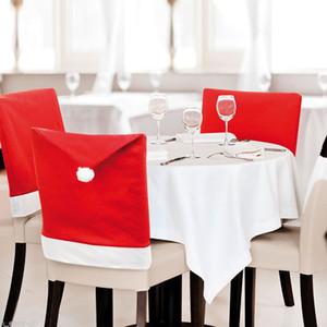 Tampa da cadeira de Natal Papai Noel Red Hat Chair Voltar Covers Cadeira Conjuntos Cap jantar para Xmas Natal Partido Home Detalhes no OWE882