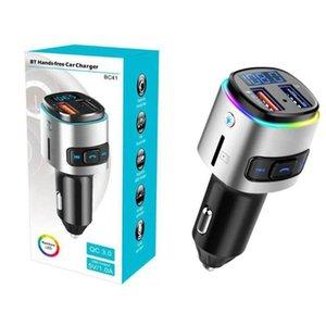 BC41 Car MP3 player Bluetooth transmissor FM Música receptor sem fio Leitor USB QC3.0 rápida carro carregador TF disco de suporte U