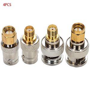 4pcs BNC Male Plug To SMA Female Jack Straight RF Connector Adapter