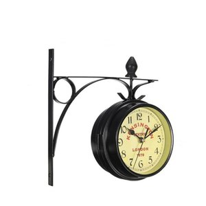 Double-sided Wal Clock Retro Clock for Home Living Room Decoration