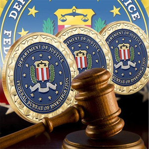 hot Gold Plated badge lacquer commemorative coin, US law enforcement FBI metal commemorative coin, collecting craft gifts