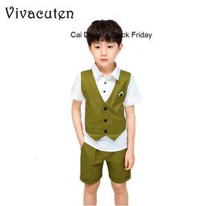 Summer Boys Formal Suit Hawaii Fake Vest Pants 2pcs Children Wedding Party Clothing Set School Kids Graduation Tuxedo Costume