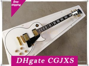 Beyaz Elektro Gitar ile Siyah Pickguard, Köprü, Gülağacı, Altın Madeni Siyah, Özel Olabilir Binding düzeltildi