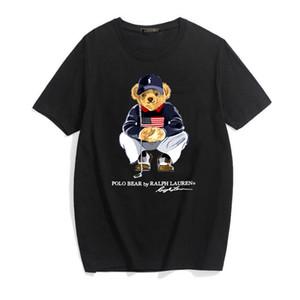 Hip Hop Polo медведь мода печати Punk T Shirt Men Крупногабаритные Топы Streetwear Лето Мужские футболки Gothic Письмо Tee DYDHG251