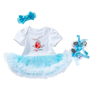 Excelent Clearance newst baby dress Fashion 3PCS Toddler Newborn Baby Girls Princess Easter Rabbit Tutu Dress Outfits Set Z0208