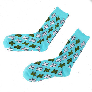 YSMILE Y 2 Pairs Lot Fashion New Unisex Cactus Cartoon Socks Jacquard Casual Daily Personality Cotton Socks Men Couples
