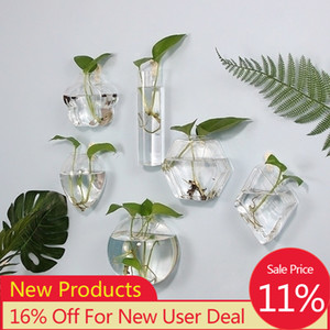 Wall Hanging Glass Flower Vase Fish Tank Aquarium Container Hydroponic Potted Plant Flower Pot Wedding Garden Home Decoration
