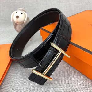 2020 Style Crocodile Line Designer Belts Luxury Belt for Mens Woman Branded Belts Smooth Buckle 2 Color Width 34mm Highly Quality with Box
