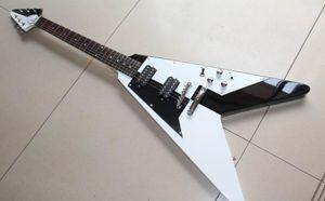 Su misura commercio all'ingrosso più venduto in volo chitarra V-string elettrico, nero / bianco, trasporto libero!