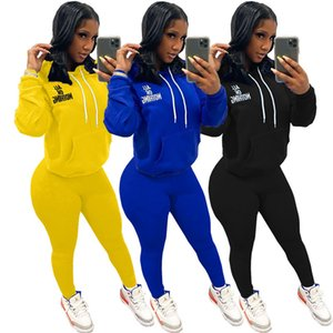 women tracksuit long sleeve hoodie outfits shirt pants 2 piece set skinny shirt tights sport suit pullover pants hot selling klw5038