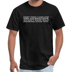 Designer Texto: Primeiro eles vieram pelos jornalistas (branco) camiseta homens rottweiler t e mulheres camisa branca t XXXL 4XL 5XL 6XL Sloga