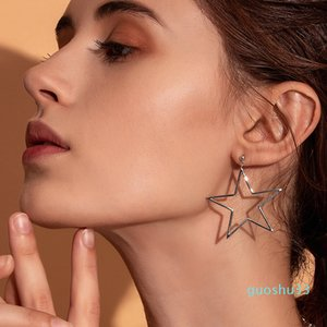 Hot Sale BAMOER Real 925 Sterling Silver Punk Rock Star Stud Earrings for Women Simple Geometric Line Fashion Earrings Jewelry