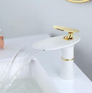Basin Wasserfall Wasserhahn Waschbecken Wasserhahn Einhand-Loch Waschtischarmatur Tap Gold-Weiß Grifo Lavabo Wash Heiße und kalte Hähne