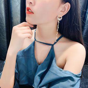 S925 needle Chinese Peking Opera style retro long temperament tassel earrings pearl personality earrings