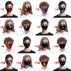 40 designs padrão de Halloween 3D Digital impressão de gelo de seda máscaras à prova de pó anti-nevoeiro respirável máscaras de protecção laváveis