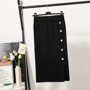 BIYv0 Primavera 2020 One-Step bodycon Tight apretado nueva falda adelgazamiento mitad de la longitud vaina alta cintura de punto artístico de división de uno-paso falda