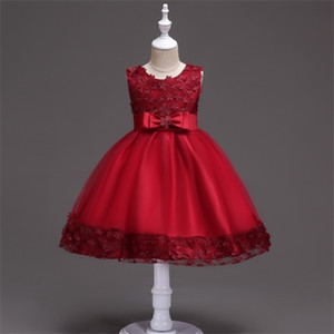 Girl Flower Petals Princess Dress Children Bridesmaid Elegant Lace Dress Vestido Infantil Formal Party Dress Plus Size Red 0926